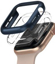 ETUI RINGKE SLIM 2-PACK APPLE WATCH 4/5/6/SE 44MM CLEAR & BLUE